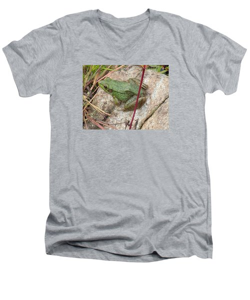 Men's V-Neck T-Shirt featuring the photograph Frog by Robert Nickologianis