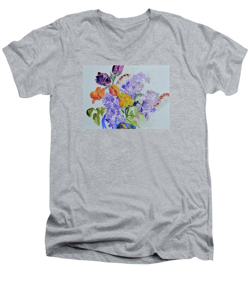 From Grammy's Garden Men's V-Neck T-Shirt by Beverley Harper Tinsley