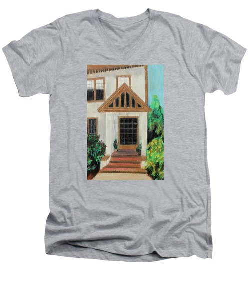 Men's V-Neck T-Shirt featuring the painting Front Door 1 by Jeanne Fischer