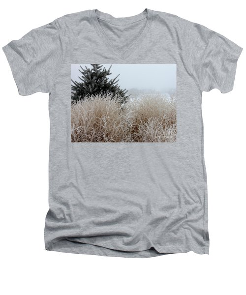 Frosted Grasses Men's V-Neck T-Shirt by Debbie Hart