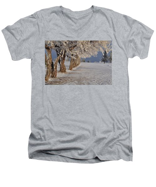 Men's V-Neck T-Shirt featuring the photograph Frosted Trees by Fran Riley