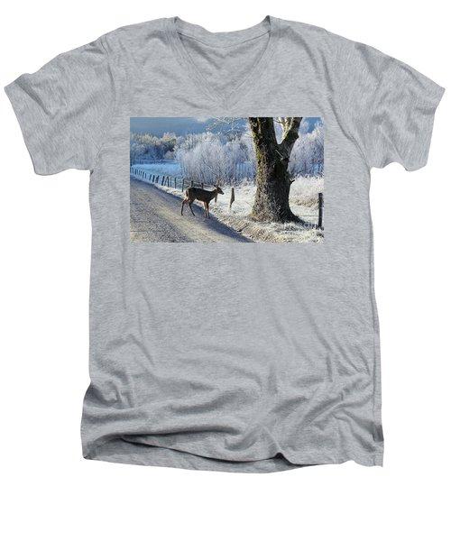 Frosty Cades Cove II Men's V-Neck T-Shirt by Douglas Stucky
