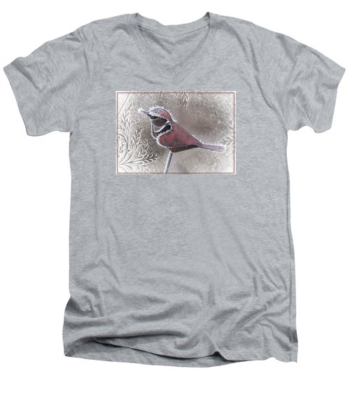 Men's V-Neck T-Shirt featuring the photograph Frosty Cardinal by Patti Deters