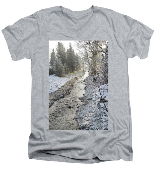 Men's V-Neck T-Shirt featuring the painting Frozen Air by Felicia Tica