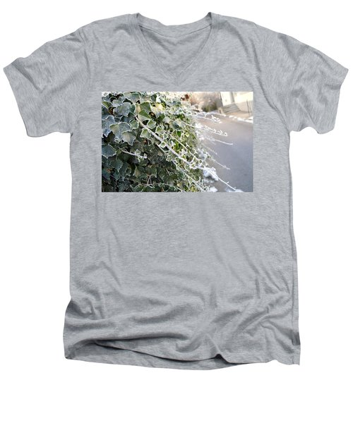Men's V-Neck T-Shirt featuring the painting Frozen Hedera Helix by Felicia Tica