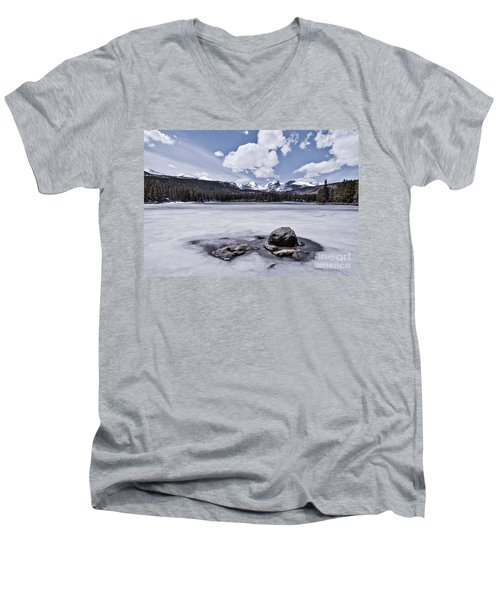 Men's V-Neck T-Shirt featuring the photograph Frozen Lake by Mae Wertz