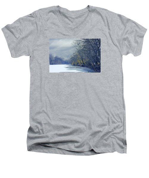 Men's V-Neck T-Shirt featuring the photograph Frozen Pond by John Rivera