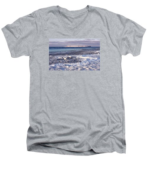Men's V-Neck T-Shirt featuring the photograph Frozen Shore by Dreamland Media