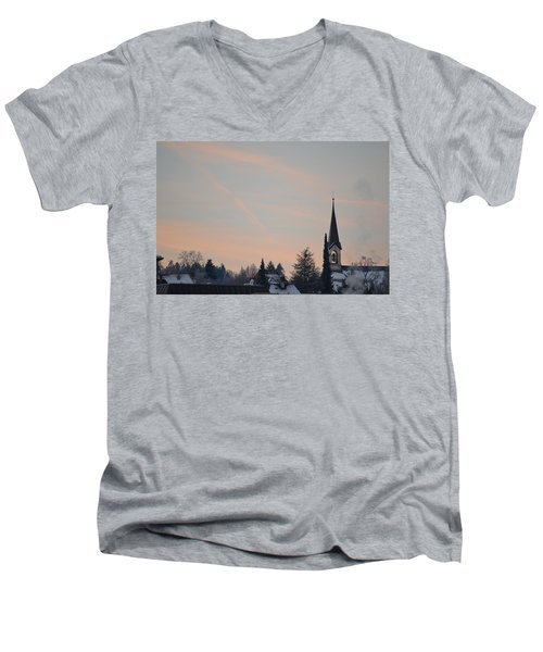 Men's V-Neck T-Shirt featuring the photograph Frozen Sky 2 by Felicia Tica
