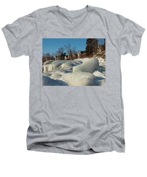 Men's V-Neck T-Shirt featuring the photograph Frozen Surf by James Peterson