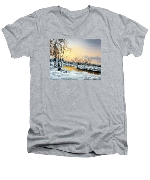 Men's V-Neck T-Shirt featuring the painting Frozen by Vesna Martinjak