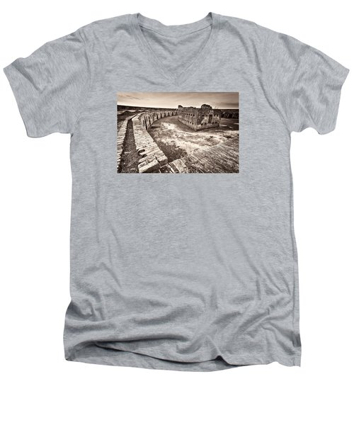 Men's V-Neck T-Shirt featuring the photograph Ft. Pike Overview by Tim Stanley