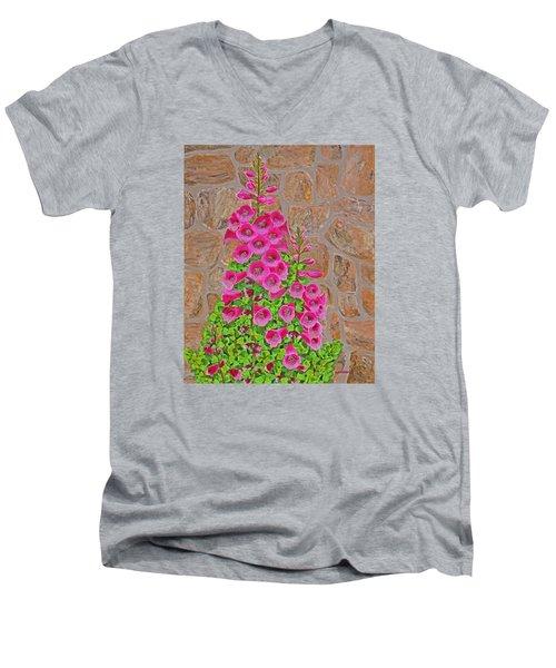 Fuchsia Profusion Men's V-Neck T-Shirt by Donna  Manaraze