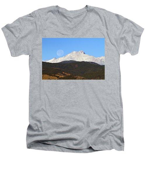Full Moon Setting Over Snow Covered Twin Peaks  Men's V-Neck T-Shirt