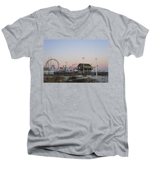 Fun At The Shore Seaside Park New Jersey Men's V-Neck T-Shirt