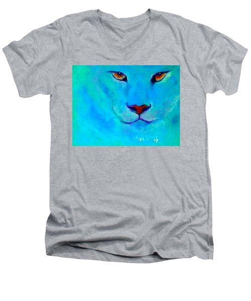 Funky Snow Leopard Turquoise Men's V-Neck T-Shirt