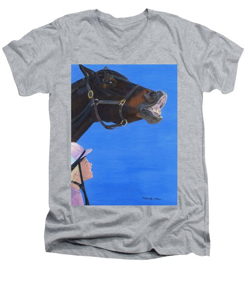 Funny Face - Horse And Child Men's V-Neck T-Shirt