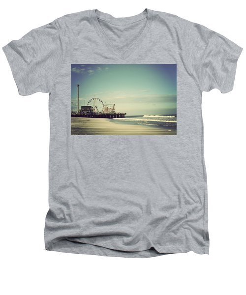 Funtown Pier Seaside Heights New Jersey Vintage Men's V-Neck T-Shirt by Terry DeLuco