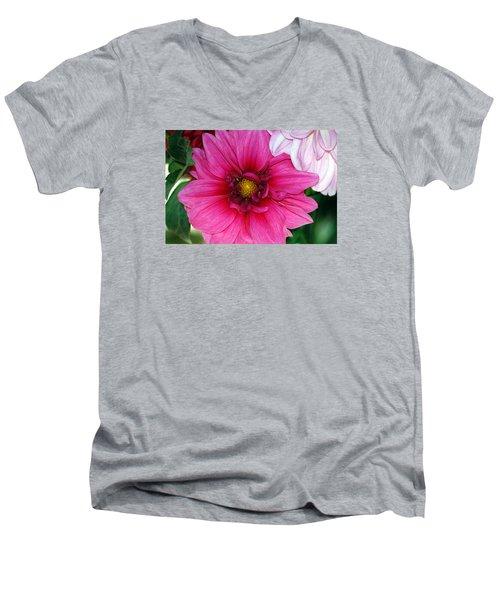 Fushia Pink Dahlia Men's V-Neck T-Shirt by Lehua Pekelo-Stearns