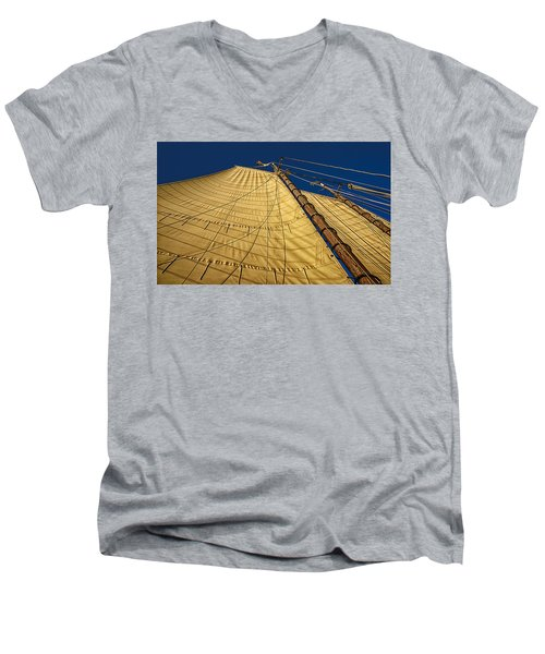 Men's V-Neck T-Shirt featuring the photograph Gaff Rigged Mainsail by Marty Saccone