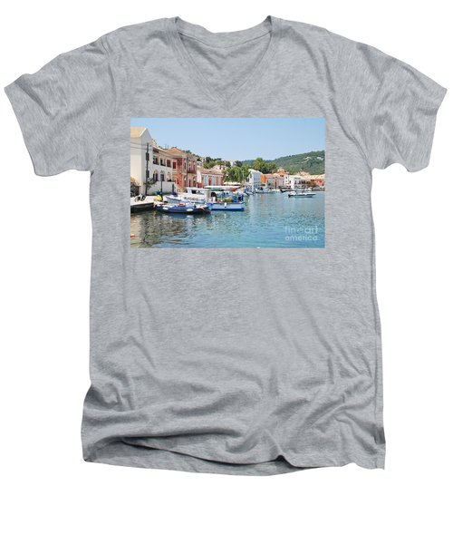 Gaios Harbour On Paxos Men's V-Neck T-Shirt