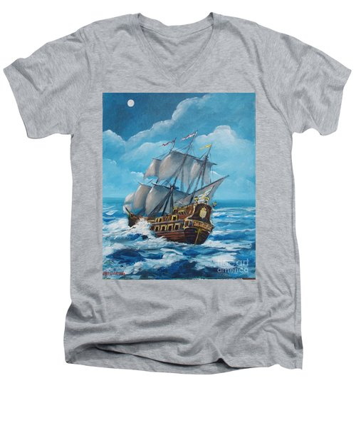 Galleon At Night Men's V-Neck T-Shirt