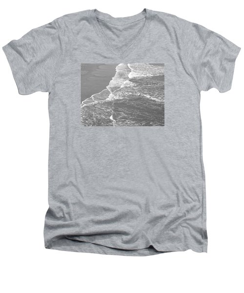 Galveston Tide In Grayscale Men's V-Neck T-Shirt by Connie Fox