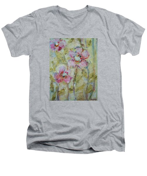 Men's V-Neck T-Shirt featuring the painting Garden Bliss by Mary Wolf