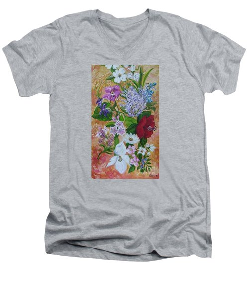 Men's V-Neck T-Shirt featuring the painting Garden Delight by Eloise Schneider