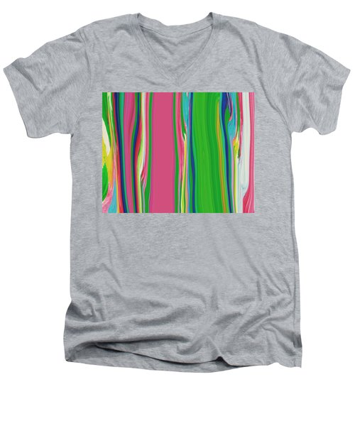 Men's V-Neck T-Shirt featuring the painting Garden Stripes  C2014 by Paul Ashby