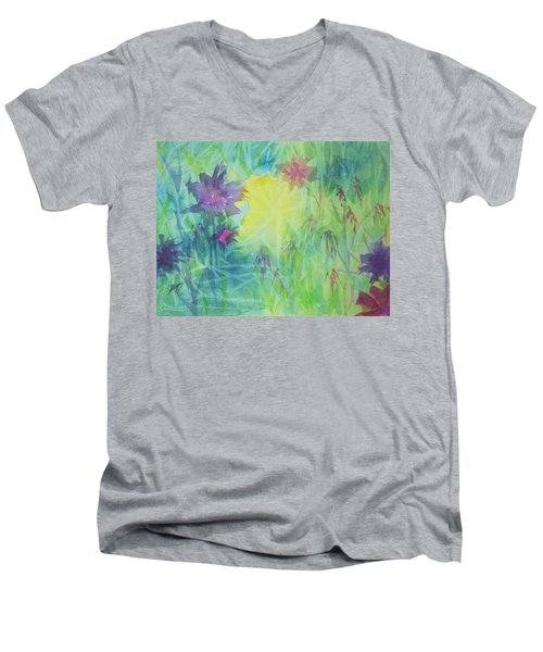 Garden Vortex Men's V-Neck T-Shirt by Ellen Levinson