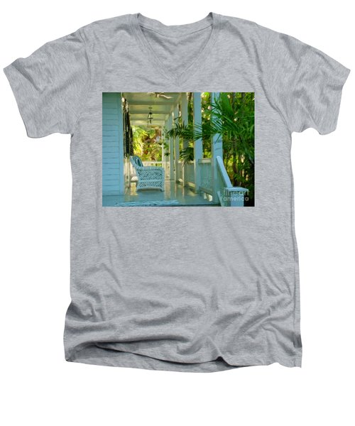 Gardens Porch In Key West Men's V-Neck T-Shirt
