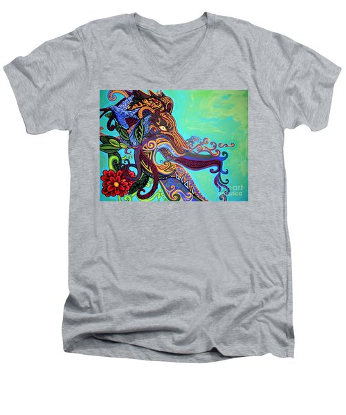 Gargoyle Lion 3 Men's V-Neck T-Shirt