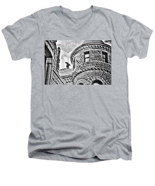 Gargoyle Men's V-Neck T-Shirt by Mark Alder