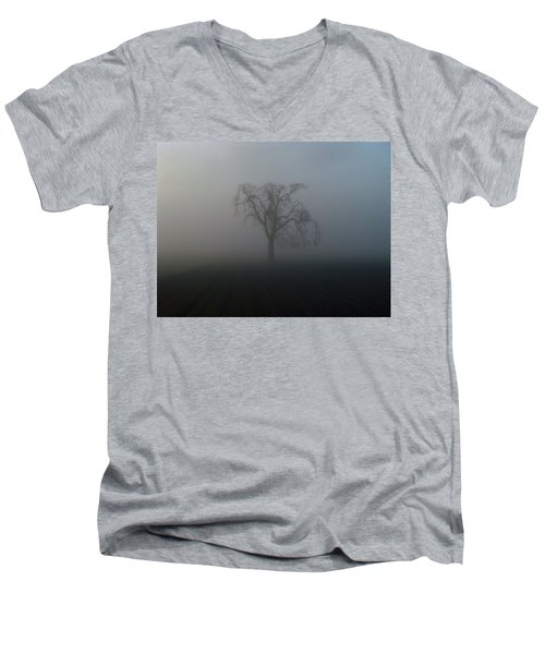Men's V-Neck T-Shirt featuring the photograph Garry Oak In Fog by Cheryl Hoyle