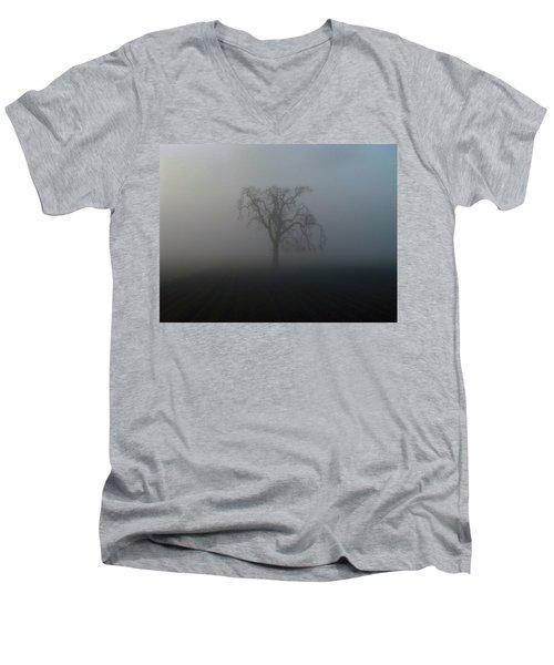 Garry Oak In Fog Men's V-Neck T-Shirt by Cheryl Hoyle