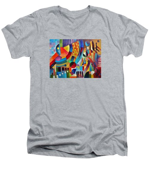 Men's V-Neck T-Shirt featuring the painting Gateway by Jason Williamson