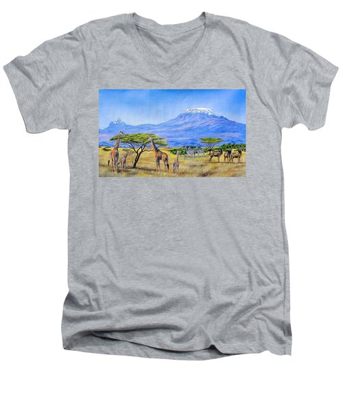 Gathering At Mount Kilimanjaro Men's V-Neck T-Shirt