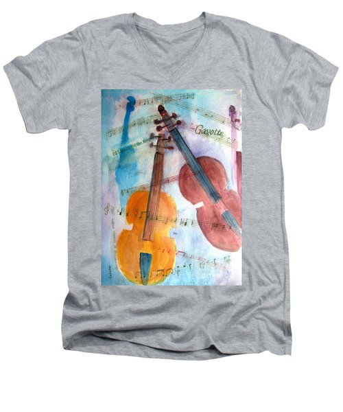 Men's V-Neck T-Shirt featuring the painting Gavotte by Sandy McIntire