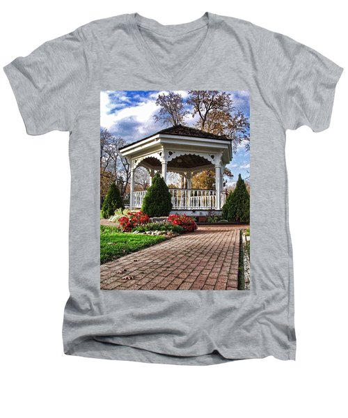 Gazebo At Olmsted Falls - 3 Men's V-Neck T-Shirt
