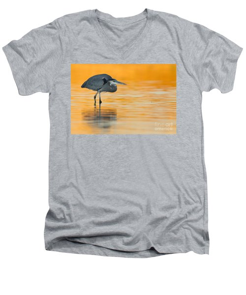 Men's V-Neck T-Shirt featuring the photograph Gbh In Orange Water by Bryan Keil