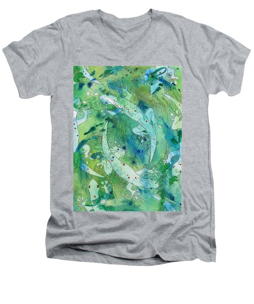 Geckos At Play Men's V-Neck T-Shirt