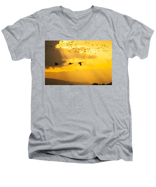 Geese At Sunset-2 Men's V-Neck T-Shirt by Brian Williamson