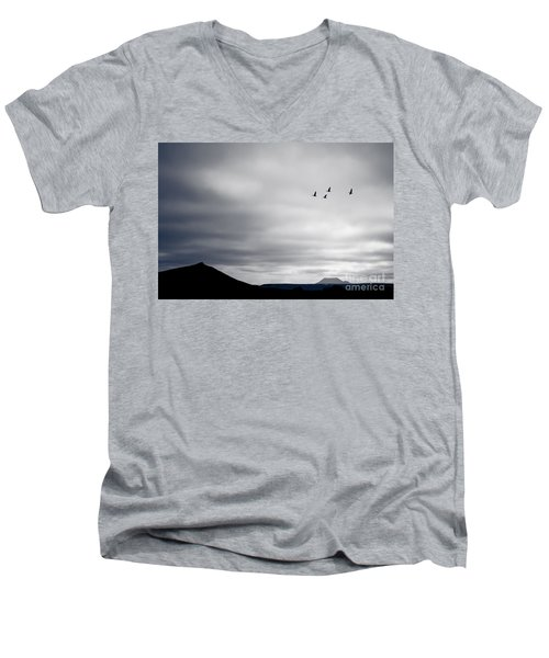 Men's V-Neck T-Shirt featuring the photograph Geese Flying South For Winter by Peta Thames