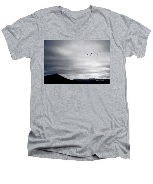Geese Flying South For Winter Men's V-Neck T-Shirt