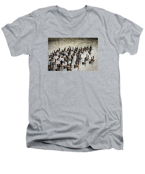 Geese In Sunset Light Men's V-Neck T-Shirt