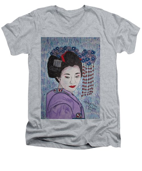 Men's V-Neck T-Shirt featuring the painting Geisha Girl by Kathy Marrs Chandler
