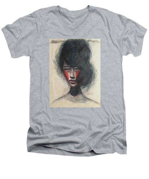 Men's V-Neck T-Shirt featuring the painting Geisha Make Up by Jarmo Korhonen aka Jarko