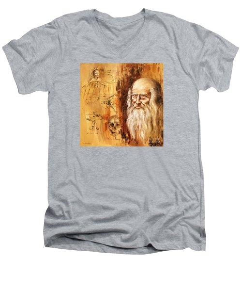 Men's V-Neck T-Shirt featuring the painting Genius   Leonardo Da Vinci by Arturas Slapsys