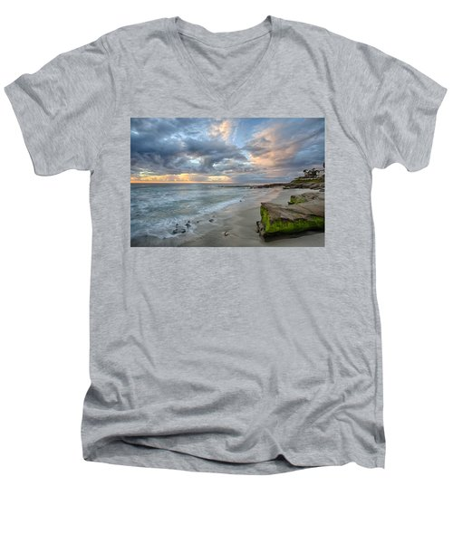 Gentle Sunset Men's V-Neck T-Shirt by Peter Tellone
